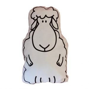 very funny sheep cushion seen from the front